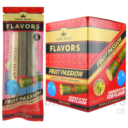 KP-109 King Palms All Natural Hand Rolled Leaf | 2 Mini Rolls | 20 Pack | Fruit Passion