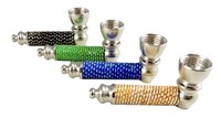 "MP-0109 3"" Beads + Color metal hand pipe"