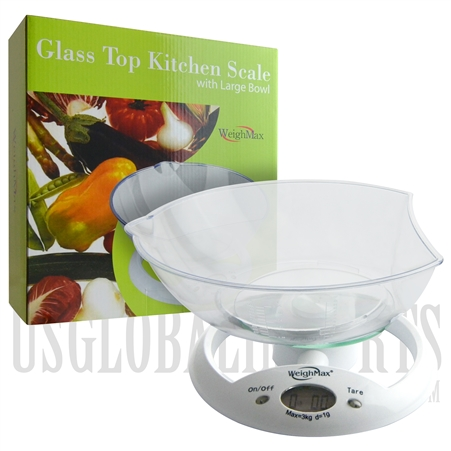 SC-129 3Kg W-5800 Glass Top Kitchen Scale with Large Bowl by WeighMax. White