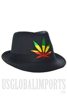 V-57 Black Fadora Style Hat With Color Design