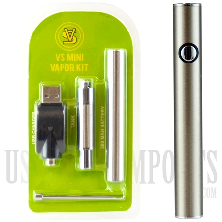 "VPEN-998 VS Mini Vapor Kit 3.5"" with Tank. 280mAH Vaporizer Pen Battery - Silver"