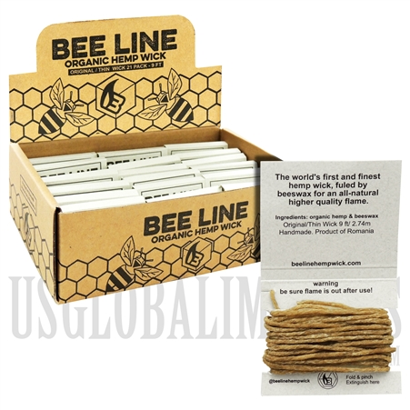 WICK-01 Bee Line Organic Hemp Wick | 9FT / 2.74m | Thin | 21 Packs