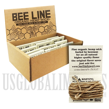WICK-05 Bee Line Organic Gauge Wick | 9FT / 2.74m | Thick | 15 Packs