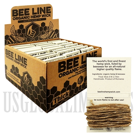 WICK-06 Bee Line Organic Gauge Wick | 9FT / 2.74m | Thick | 54 Packs