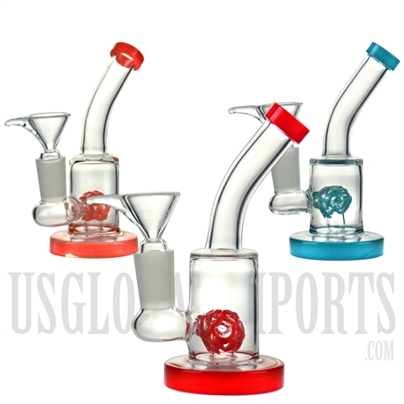 "WP-1915 5"" Water Pipe + Stemless + Diffuser + Bent Neck + Color"