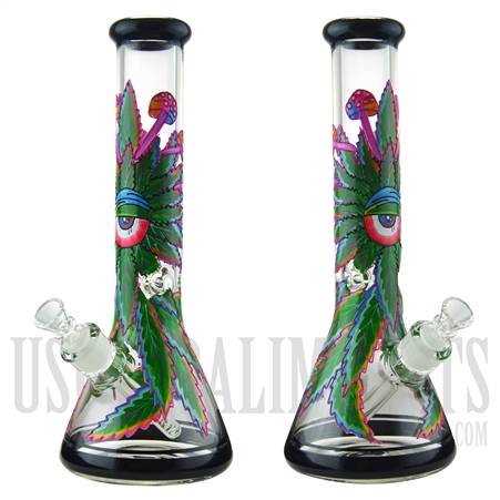 "WP-1933 13.5"" Glass Water Pipe + Beaker Base + Ice Catcher + All Seeing Marijuana Plant"