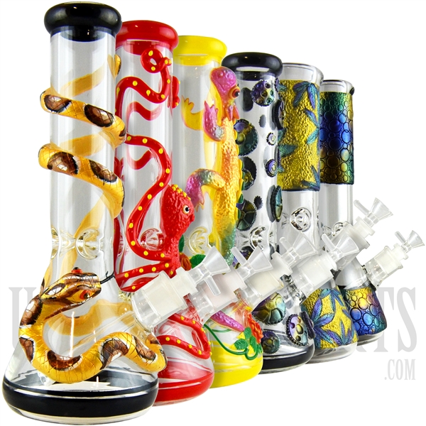 "WP-2003 12.5"" 3D Texture Glass Water Pipe + Ice Catcher + Beaker. Many Designs"