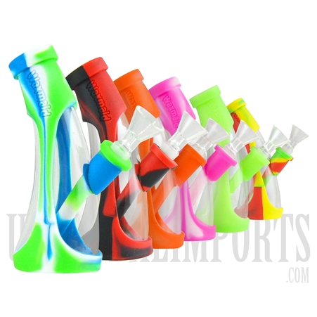 "WP-2021 6"" Horn Mini Silicone Water Pipes by Waxmaid. Assorted Colors"