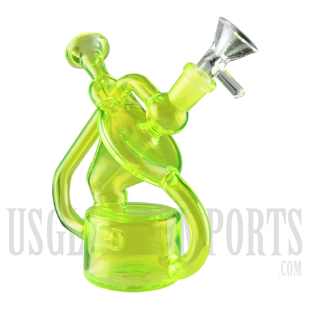 "WP-2032 6.5"" Neon Green Recycler Water Pipe 