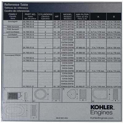 Genuine Kohler Confidant OEM Tune Up Kit For 19-26 HP 16 789 02-S