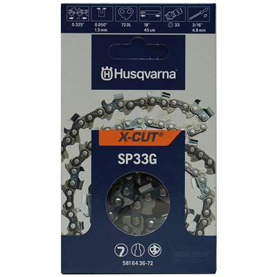 "Husqvarna OEM Chainsaw 18"" Chain SP33G X-CUT .325"" Pitch x .050 Gauge 58164 36-72"