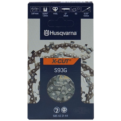 "Genuine Husqvarna 12"" X-CUT S93G Chainsaw Chain Loop 3/8"" Mini Pitch x .050 Gauge x 44 Drive Links 585 42 21-44, 585422144"