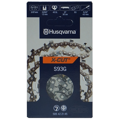 "Genuine Husqvarna 12"" X-CUT S93G Chainsaw Chain Loop 3/8"" Mini Pitch x .050 Gauge x 45 Drive Links 585 42 21-45, 585422145, 576 93 65-45, 576936545"