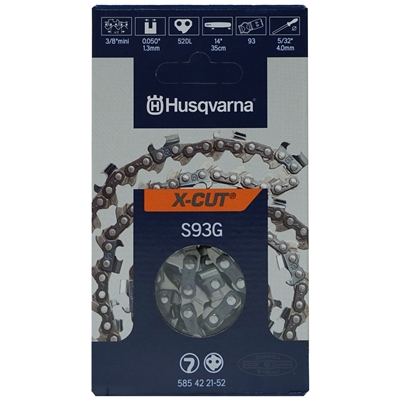 "Genuine Husqvarna 14"" X-CUT S93G Chainsaw Chain Loop 3/8"" Mini Pitch x .050 Gauge x 52 Drive Links 585 42 21-52, 585422152, 576 93 65-52, 576936552"