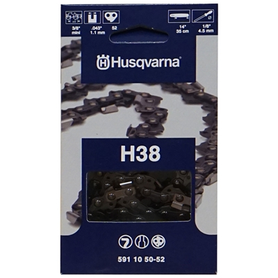 "Husqvarna OEM Chainsaw 14"" Chain 3/8 Pitch x .043 Gauge H38, 591 10 50-52"
