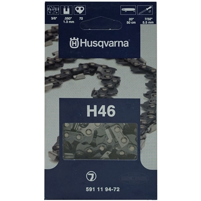 "Genuine Husqvarna OEM Chainsaw 20"" Chain 3/8"" Pitch x .050 Gauge 72 Drive Links 591 11 94-72, 591119472, 5018425-72, 501842572"