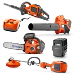 Husqvarna Battery Operated Trimmer, Blower, Headger, And Chainsaw With Battery And Charger Included