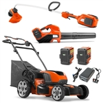 Husqvarna Battery Operated Lawn Mower, Blower, and Trimmer With 2 Batteries and Charger