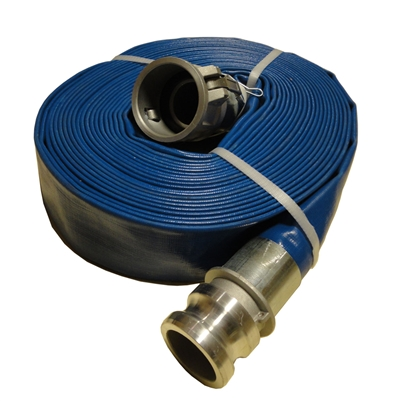 "2"" inch Blue Lay Flat Water Pump Discharge Hose Camlocks 60' feet  wph20"