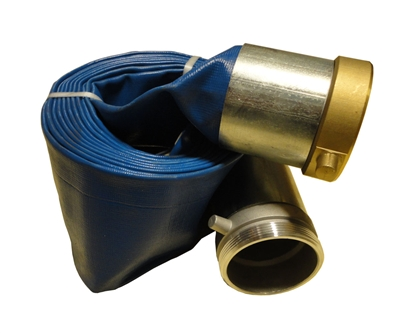 "4"" inch Blue Lay Flat Water Pump Discharge Hose Threaded"