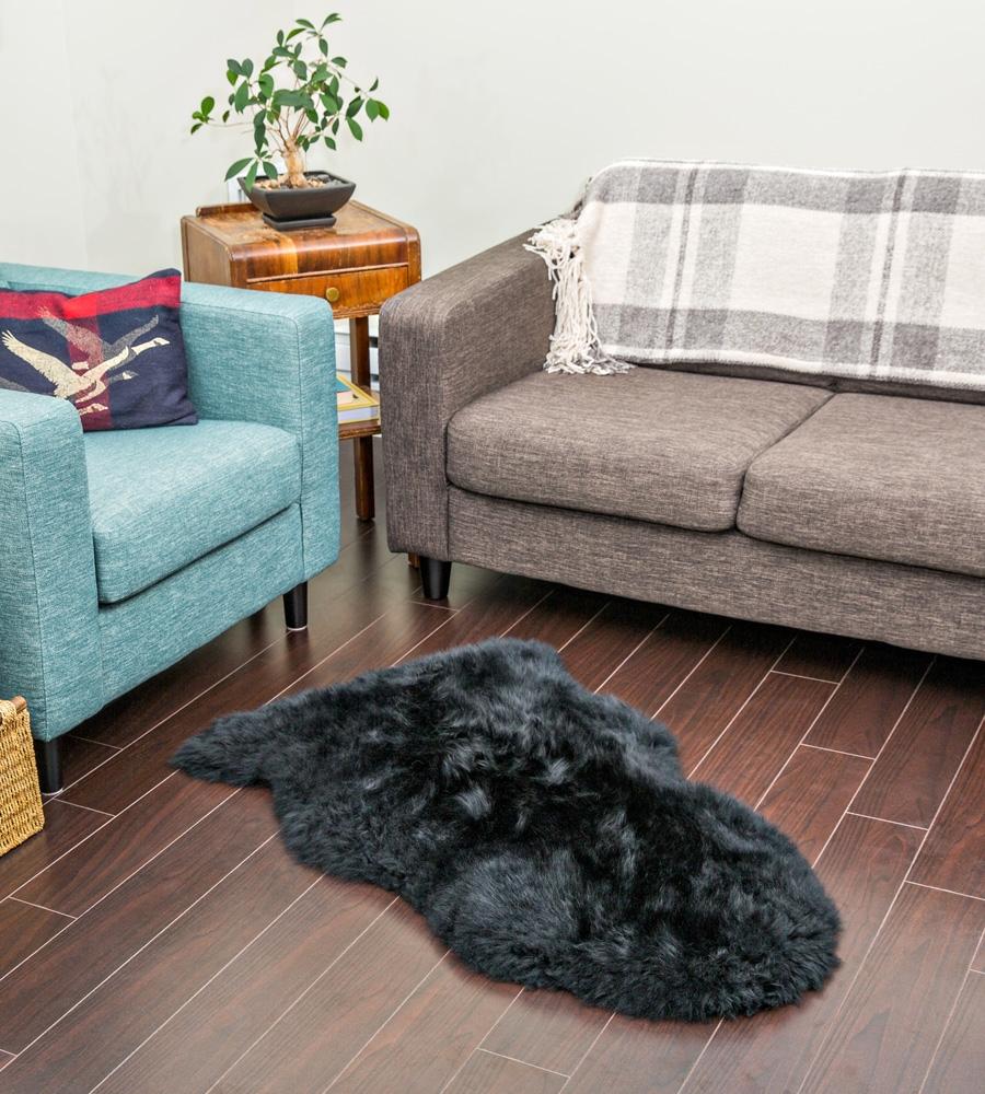 black sheepskin rug. Alternative Views: Black Sheepskin Rug