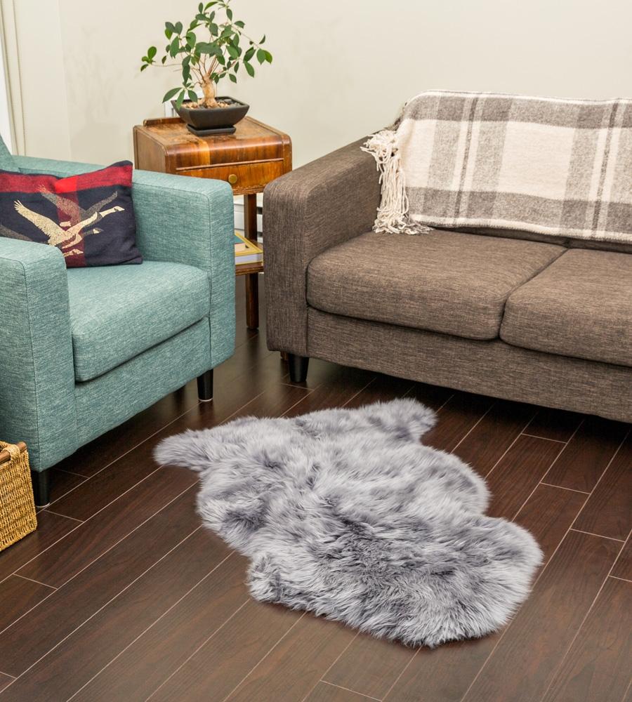 Grey Sheepskin Rug 2x3 5ft