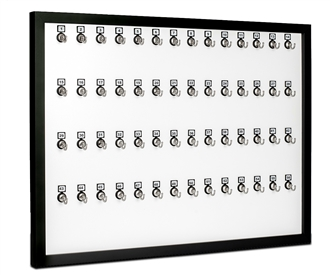 Keystand, Framed 56 Bolted Metal Hook with Number Plate and Hidden Hangers for Executive Offices (60 Sets of Tag & Ring Included)