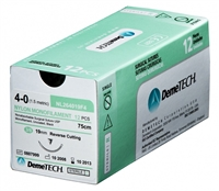 "Nylon 6-0 3/8 18"" 16mm (C26) Reverse Cutting Black Sutures 12/bx. - DemeTech"