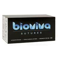 "Bioviva 3/0, 18"" (45cm) Silk Black Braided Nonabsorbable Suture - 12/Box"