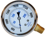 PRESSURE WASHER STAINLESS STEEL LIQUID FILLED GAUGE
