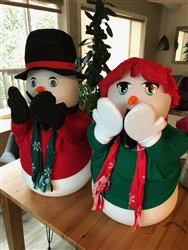 Amazing 27 inch tall Snowman and SnowWoman Snowfall Machines