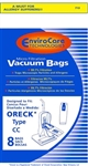 Oreck Bag Paper Type CC Upright With Bag Dock Micro Filter             8 Pack Envirocare