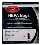 Riccar / Simplicity Type F HEPA Synthetic Paper Bag 6 pack