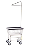 Narrow Laundry Cart w/ Single Pole Rack, # 100D91