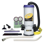 ProTeam 107109 10 QT Super CoachVac HEPA Backpack Vacuum Cleaner w/ Xover Floor Tool Kit B