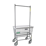 R&B Wire Antimicrobial Large Capacity Laundry Cart w/ Double Pole Rack # 200F56/ANTI