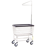 R&B Wire Large Capacity Laundry Cart w/ Single Pole Rack*