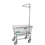 R&B Wire Antimicrobial Large Capacity Laundry Cart w/ Single Pole Rack # 200F91/ANTI