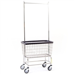 "R&B Wire Large Capacity 6 Bu. ""Big Dog"" Laundry Cart w/ Double Pole Rack*"