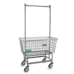 R&B Wire Antimicrobial Mega Capacity Laundry Cart (Big Dog) w/ Double Pole Rack # 201H56/ANTI