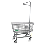 R&B Wire Antimicrobial Mega Capacity Laundry Cart (Big Dog) w/ Single Pole Rack # 201H91/ANTI