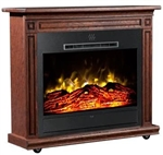 Heat Surge Roll-n-Glow Touch Screen All Seasons Electric Fireplace with Remote, Dark Oak