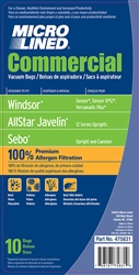Windsor, AllStar Javelin, Sebo Replacement Vacuum Bags, 10 Pack, Paper Bag, 10pk