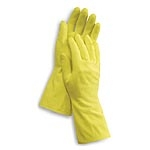 "Volk Work Safe Liquid & Chemical Resistant Yellow Latex Gloves, Flock-lined, Embossed Grip, 18-mil, 12"" Long Cuff, Medium (Bulk Case of 12 Dozen)"