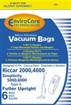 Riccar Replacement Paper Bag Type A (6 Pk) Envirocare 845