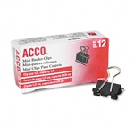 ACCO Mini Binder Clips, Steel Wire, 1/4 Cap., 1/2w, B