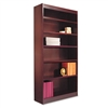 Alera Square Corner Bookcase,Finished Back, Wood Veneer