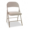 Alera Steel Folding Chair w/Padded Seat, Tan, 4/Carton