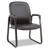 Alera Genaro Series Guest Chair, Black Leather, Sled Ba