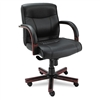 Alera Madaris Mid-Back Swivel/Tilt Leather Chair w/Wood